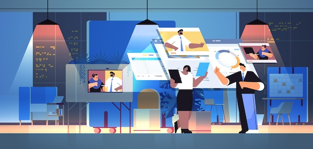 Businesspeople team analyzing financial statistic data with colleagues in web browser windows during video call online communication teamwork concept dark night office interior horizontal full length