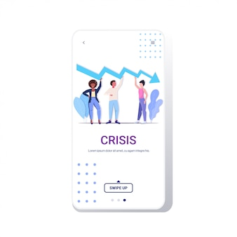 Businesspeople team frustrated about economic arrow falling down financial crisis bankrupt investment risk concept business people holding downward chart phone  screen mobile app full length