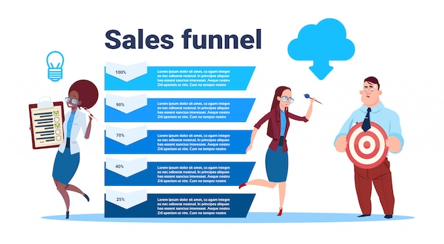 Businesspeople team hold blank form survey target arrow data cloud sales funnel with steps stages business infographic. purchase diagram concept