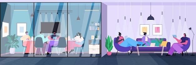 Команда бизнесменов, работающих в творческом офисе, деловые люди, использующие цифровые гаджеты, онлайн-общение, концепция совместной работы, горизонтальная полная длина, векторная иллюстрация