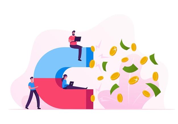 Команда бизнесменов, работающих над ноутбуками, привлекает долларовые монеты и банкноты с помощью огромного магнита. мультфильм плоский иллюстрация