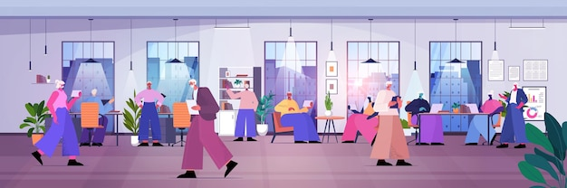 Businesspeople team working together business people group using digital gadgets in modern office horizontal full length vector illustration