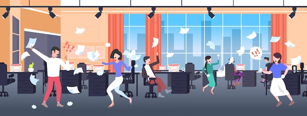 Businesspeople throwing papers conflict problem concept businesspeople arguing colleagues disputing having disagreement at work negative emotions office interior horizontal full length