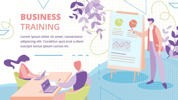Businesspeople training course banner template