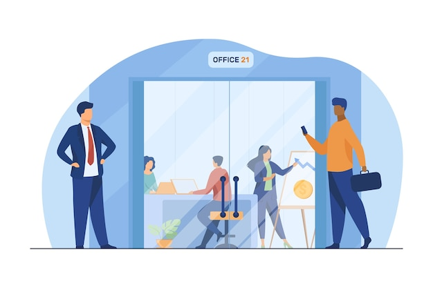 Businesspeople walking in corridor to office glass door. employees at workplaces and presentation board flat vector illustration. business center