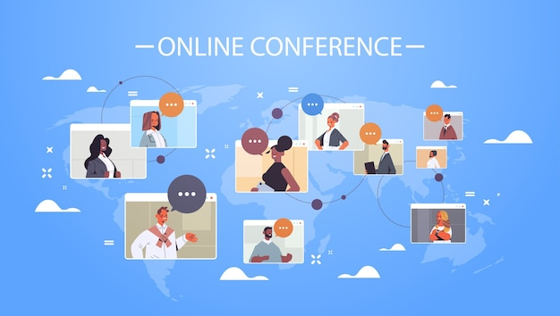 Businesspeople in web browser windows discussing during corporate online international conference mix race working by group video call world map background    illustration