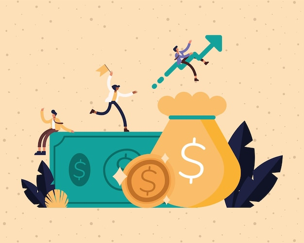 빌 동전과 돈 가방 디자인, 사업 관리 및 기업 테마 일러스트와 함께 기업인