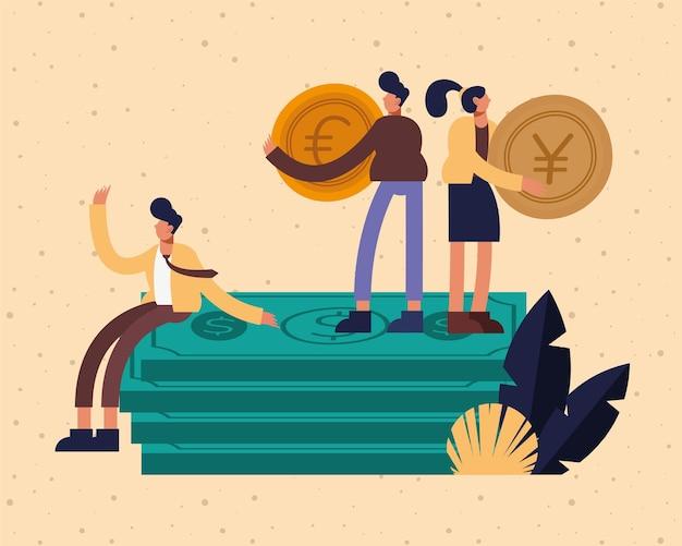 지폐와 동전 디자인, 사업 관리 및 기업 테마 일러스트와 함께 기업인