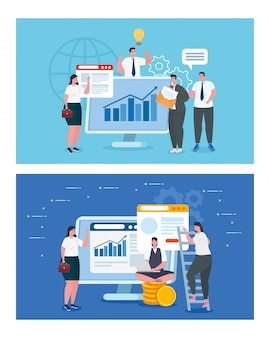 Бизнесмены с компьютерами и инфографика векторный дизайн