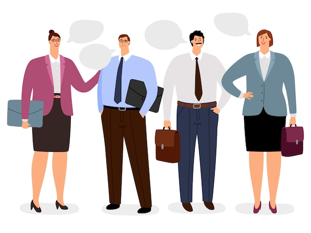 Businesspeople with conversation bubbles