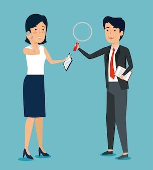 Бизнесмены с документом и увеличительным стеклом