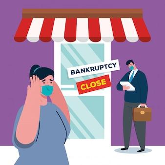 Бизнесмены с масками на складе банкротства