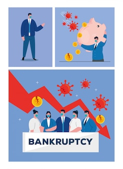 Businesspeople with masks piggy and decrease arrow of bankruptcy