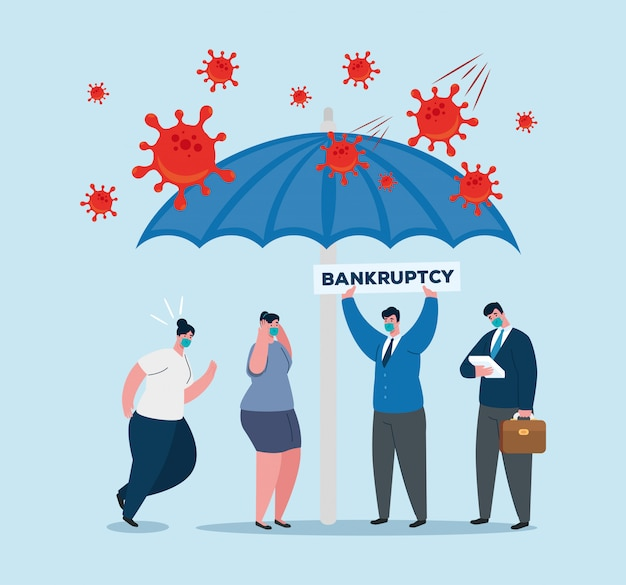 Businesspeople with masks and umbrella of bankruptcy