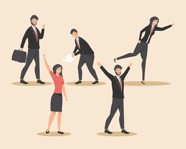 Бизнесмены с офисными иконами