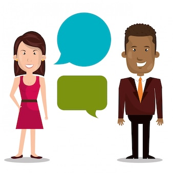Businesspeople with speech bubbles