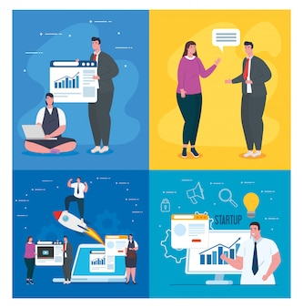 Businesspeople with start up rocket websites computer and laptop vector design