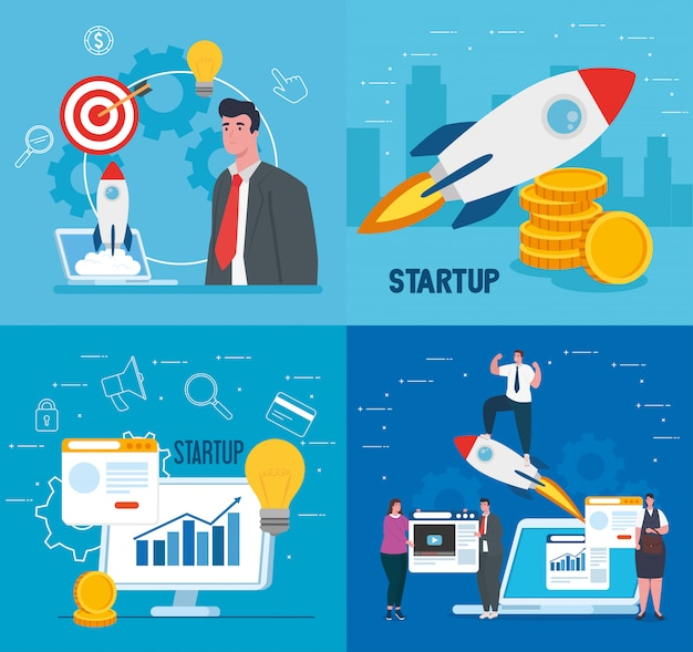 Businesspeople with start up rockets computer and laptopvector design