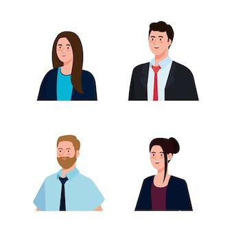 スーツのデザイン、男性女性経営管理企業の仕事の職業と労働者のテーマを持つビジネスマン