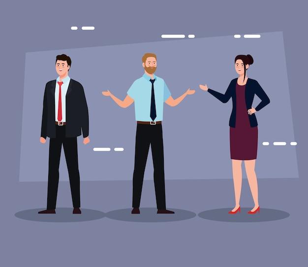 Бизнесмены с костюмом на фиолетовом фоне дизайн, мужчина женщина бизнес-менеджмент корпоративная работа и рабочая тема
