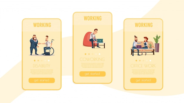 ビジネスマンの仕事オンラインサービスwebページ