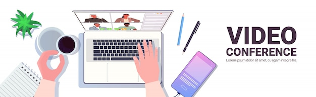 Businessperson chatting with mix race colleagues during video call business people having online conference meeting communication concept workplace desk top angle view copy space illustration
