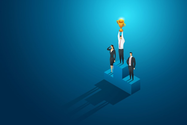 Businessperson one winner holding trophy on podium. leadership and success.isometric concept illustration