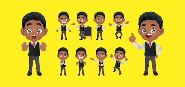 Businessperson with different poses vector