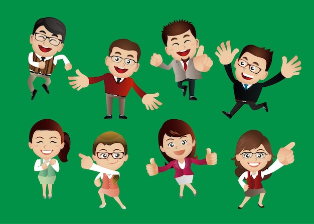 Businessperson with different poses.