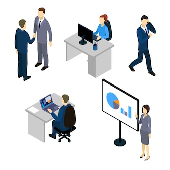 Businesspersons isometric characters set with talks at meeting and by mobile people at workplaces isolated vector illustration