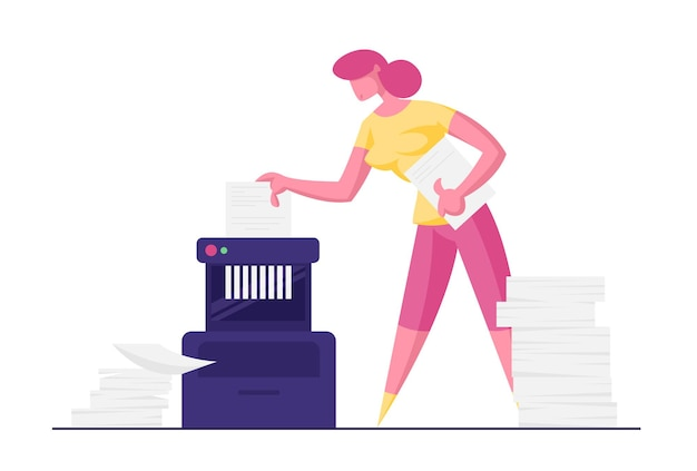 Businesswoman accountant destroy secret documents put in shredder