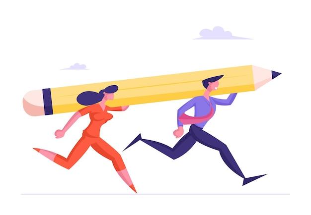 実業家とビジネスマンは成功への肩のレースで巨大な鉛筆を運ぶ