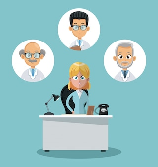 Businesswoman and doctors in round icons