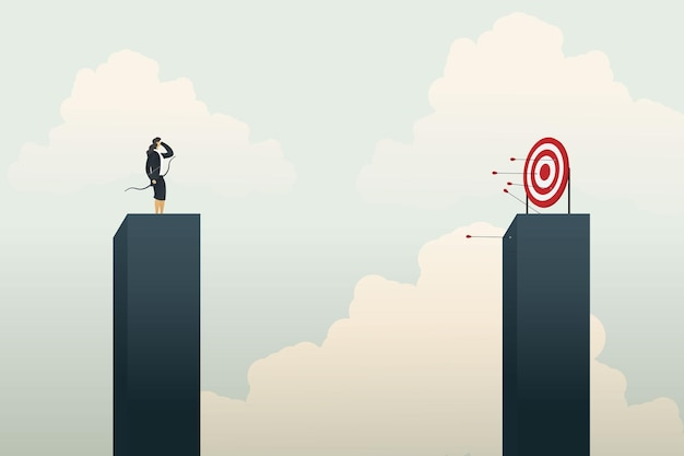 Businesswoman archery missing the target and not success. illustration vector
