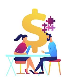 Коммерсантка на столе помогает бизнесмену разрешить иллюстрацию вектора головоломки.