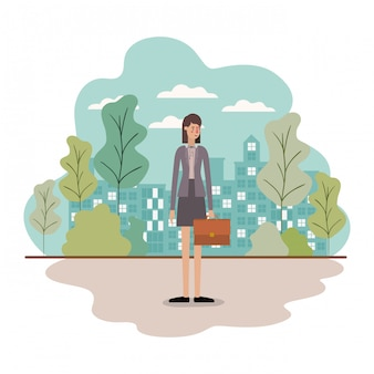 Businesswoman avatar with suitcase