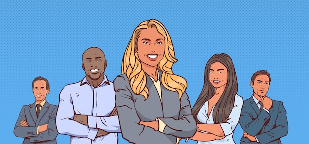 Businesswoman boss with group of business people successful mix race team folded hands