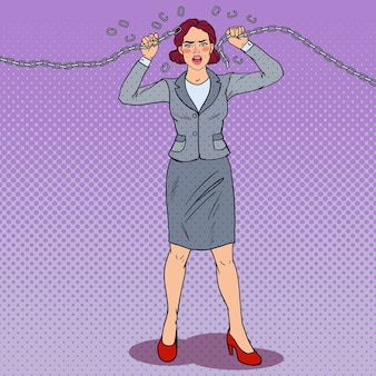 Businesswoman breaking metal chain