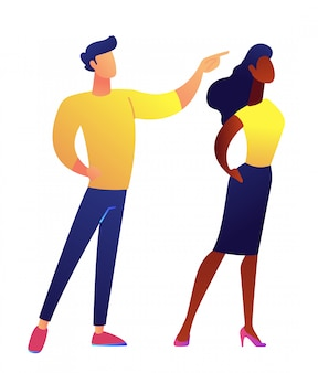 Businesswoman and businessman pointing finger vector illustration.