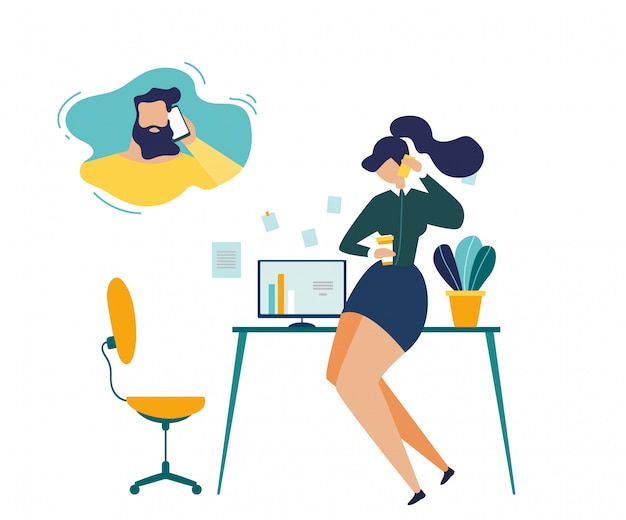 Businesswoman calling husband flat vector concept