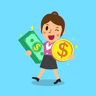 Businesswoman carrying money stack and coin