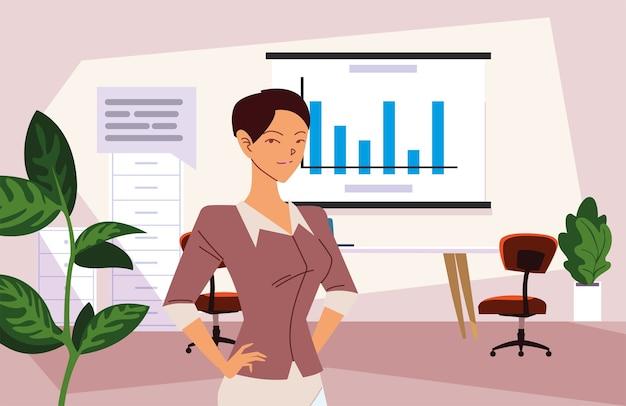 인포 그래픽 보드와 버블 디자인, 비즈니스 패션 및 관리 테마로 사무실에서 사업가 만화 프리미엄 벡터