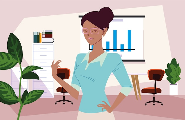 인포 그래픽 보드 및 가구 디자인, 비즈니스 패션 및 관리 테마로 사무실에서 사업가 만화