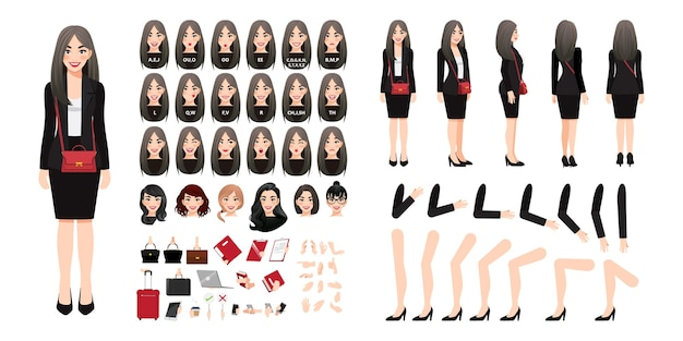 Businesswoman cartoon character creation set with various views, hairstyles, face emotions, lip sync and poses. parts of body template for design work and animation. 025