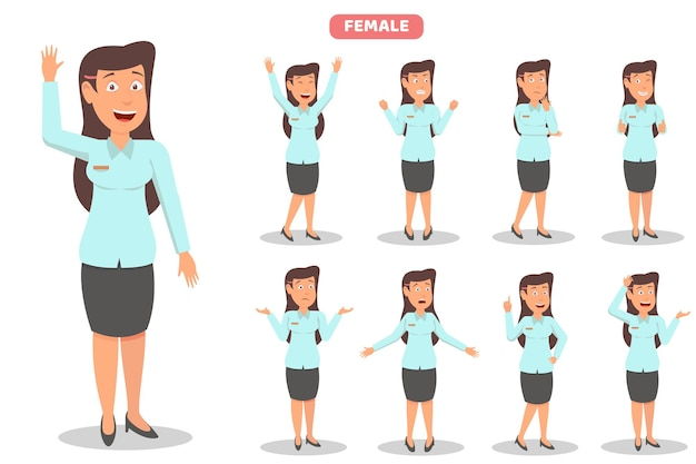 Businesswoman cartoon character set ,with various expression and pose illustration