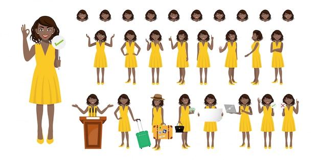 Businesswoman cartoon character set