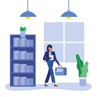 Businesswoman cartoon walking design, office business and management, design, illustration, image theme