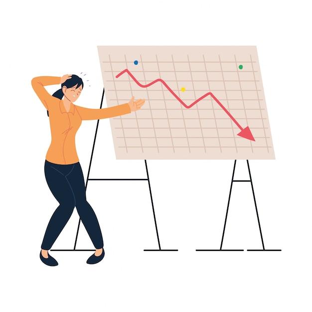 두통 및 감소 화살표 벡터와 사업가 만화