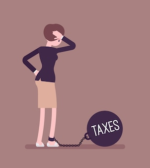 Businesswoman chained with a weight taxes