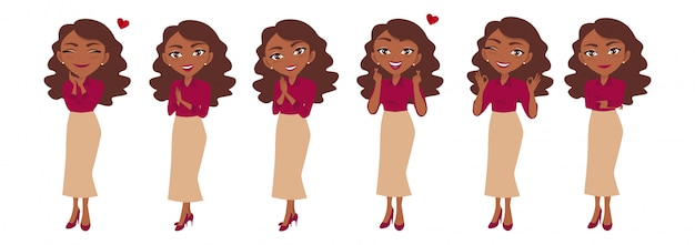 Businesswoman character or businesswoman cartoon in different poses set
